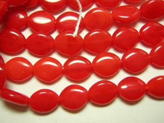 24 Pcs Opal Red Flat Czech Glass Oval Beads 10mm x 8mm