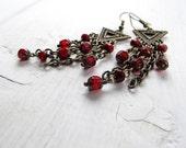 Red Bohemian Chandelier Earrings Antique Brass Czech Glass: Red Arrow
