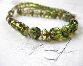 Single Strand Necklace Peridot Green Czech Glass: Verdant Mix