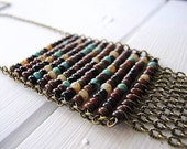Beaded Fringe Necklace Antique Brass Chain with Bohemian Mix Czech Glass: Abacus Tribal