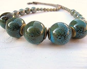Single Strand Necklace: Peacock Ceramic Beads with Czech Glass