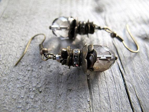 Antique Brass Dangle Earrings Clear Czech Glass: Corinthian