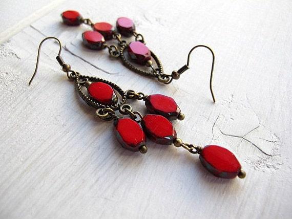 Red Bohemian Chandelier Earrings Antique Brass Czech Glass: Singed