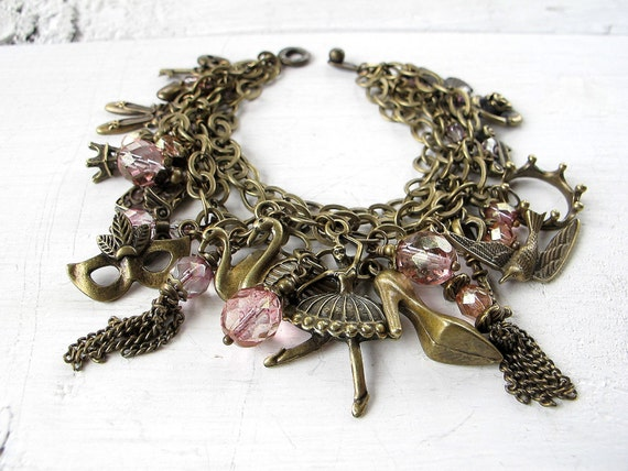 Over Sized Charm Bracelet Antique Brass Czech Glass: Girlie Girl