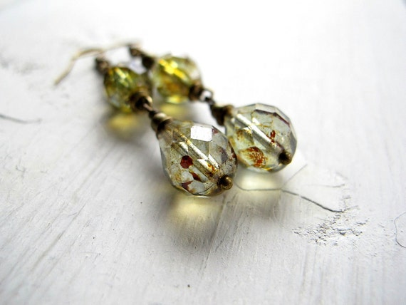 Green Drop Earrings Antique Brass Czech Glass