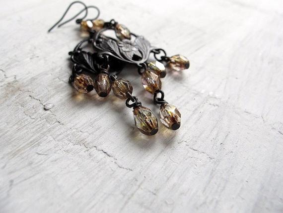 Black Brass Chandelier Earrings:  Gold Dust Czech Glass Dangles