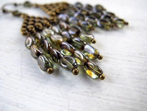 Spring Rain Chandelier Earrings: Antique Brass Triangle with Green Czech Glass