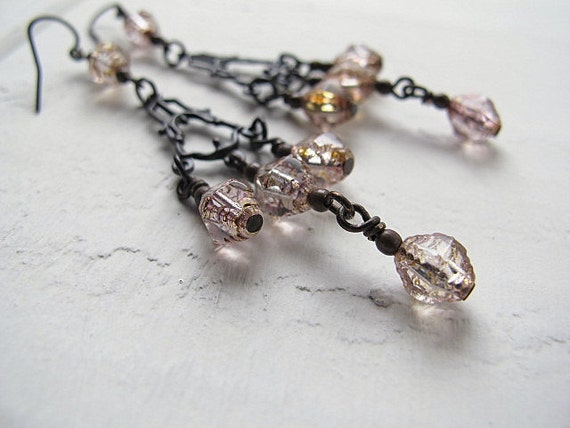 Pink Chandelier Earrings: Art Deco Antique Blackened Brass Connector with Clear Czech Glass