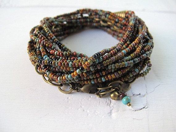 Seed Bead Necklace in Czech Glass with Antique Brass: Southwestern Bohemian Festival