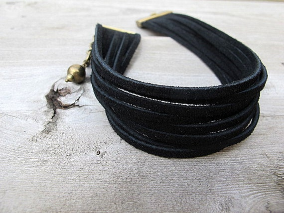 Black Suede Choker Necklace/ Convertible Layered Leather Wrap Bracelet