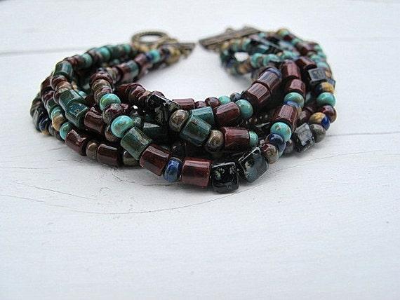 Layered Bead Bracelet: Antique Brass with Aztec Mix Czech Glass