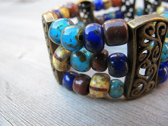 Bohemian Cuff Bracelet Czech Glass with Antique Brass: Morocco Turquoise