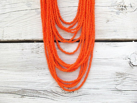 Seed Bead  Necklace/ Multi Layered Czech Glass Seed Beads with Antique Brass Findings: Tangerine Tangle