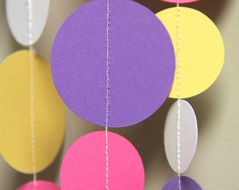 Pink, Purple, Yellow and White paper circle garland (15 feet) - READY TO SHIP