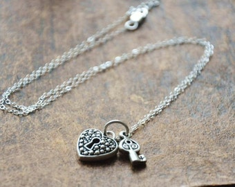 Silver Key to my Heart Necklace- Sterling Silver Chain, Lock and Key, Couple Love Necklace