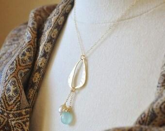Gold Eternity Ring Necklace- Fringe Necklace, Unique Necklace, Modern Necklace, Chalcedony Necklace, Gemstone Necklace, Boho Chic Necklace