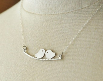 SALE-Silver Kissing Lovebirds Necklace, Couples Necklace, Cute Necklace, Whimsical Necklace, Dainty Necklace, Sterling Silver Chain