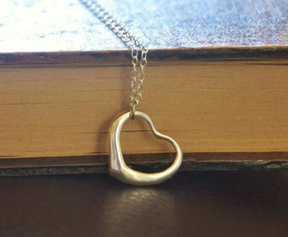 Sterling Silver Open Heart Necklace- Love, Couple's Necklace, Great Gift for Her