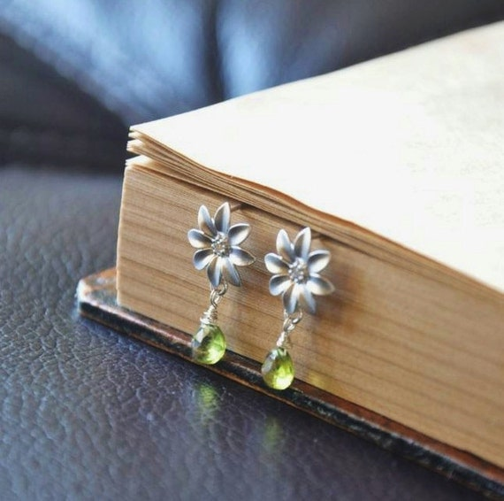 Teeny Tiny Sterling Silver Daisy Flower Post Earrings with Peridot Gemstones- Cute, Adorable, Nature Inspired, August Birthstone