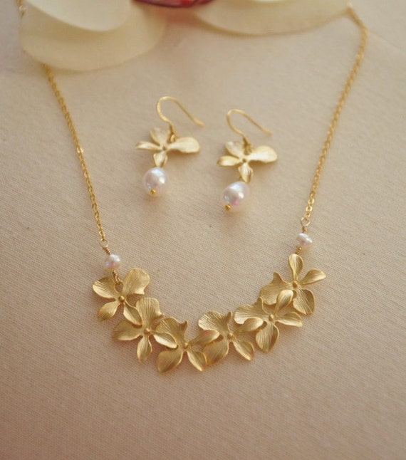 Gold Orchid Lei Flower Jewelry Set--14K gold filled chain, freshwater pearls, cute, delicate, feminine
