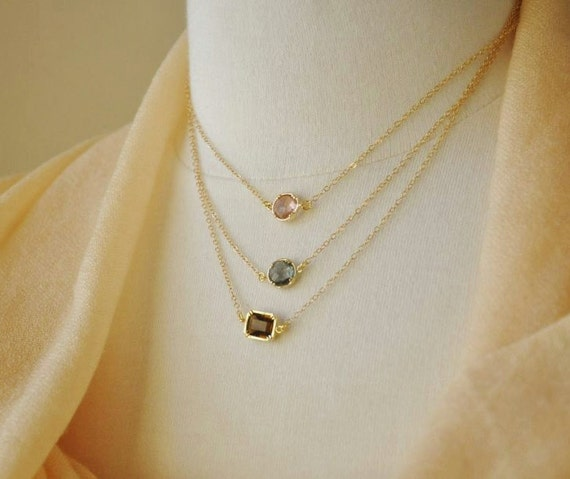 Gold Three Layered Crystal Necklace- 14K gold filled chain, delicate, feminine and dainty