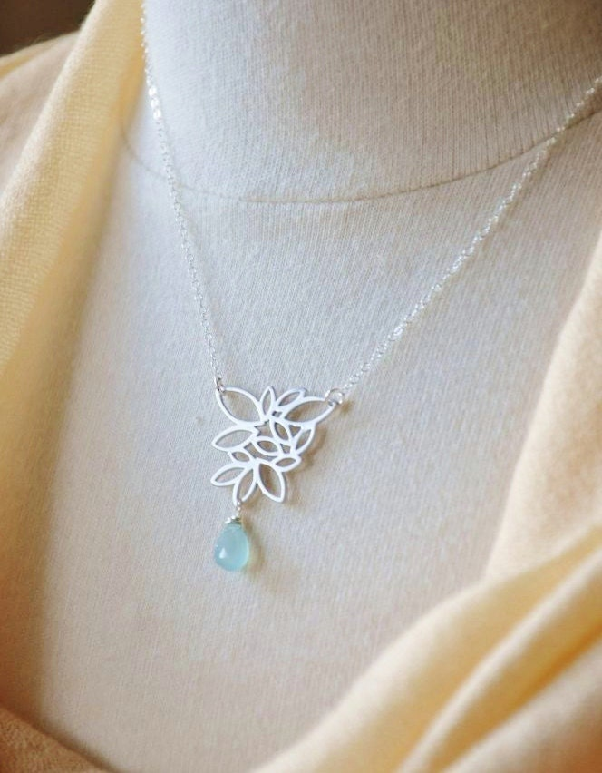Silver Lotus Flower Necklace- Silver Necklace/ Lotus Necklace/ Blue Chalcedony Gemstone/ Gemstone Necklace/ Dainty Necklace/ Feminine
