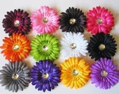 Hair bow Flower Clips Big gerber daisy set of 12 flowers and your choice of 3 crochet headbands .... Super SAVER Deal