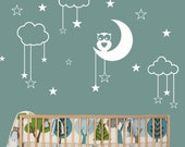 Owl Moon Stars Children Nursery Wall Decal - Vinyl Wall Decal Sticker Removable