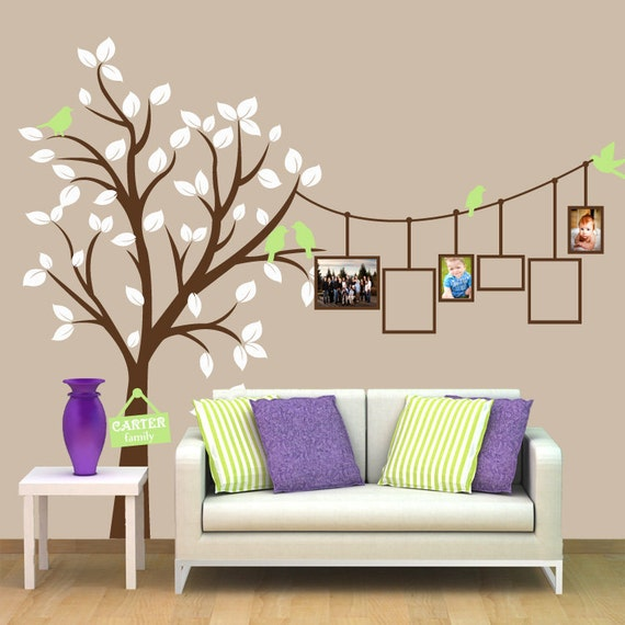 Items similar to tree with birds decal picture frames for Stickers vinilos decorativos