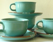 Vintage Dansk turquoise coffee cups and saucers