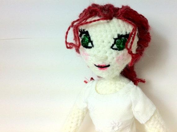 "Crochet OOAK Fashion Doll - Read Hair & Green Eyes - With White Flower Dress - 12"""