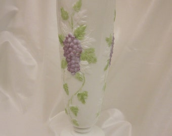Hand Painted Milk Glass Vase