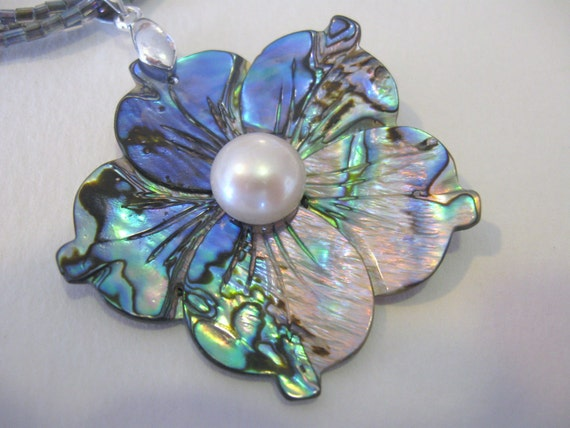 Abalone Shell Flower Pendant and Rainbow Seed Bead Necklace 19 - 22 inches