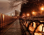 Park bench and Brooklyn Bridge at Night 12 x 18 Limited Edition Print 8 of 10 editions available at this size.