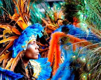 West Indian Parade,Colorful Feathered Female Masquerader 8 x 12 Fine Art Print