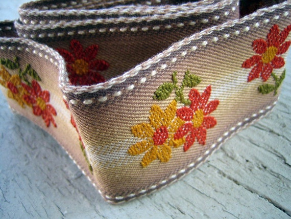 Mod Vintage Embroidered Trim - Cotton - Sweet Embellishment - Listing is for 1 yard 6 inches long by 2 inches wide
