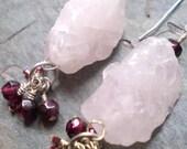 SUGAR - Rough Rose Quartz and Pink Garnet Cluster Earrings