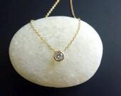 Single Diamond Necklace-Solitaire Diamond Necklace-Small Diamond Necklace-Bezel Set Diamond Necklace-Gold Diamond Necklace-Momentusny