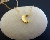 Gold Crescent Moon Necklace-Gold Moon Necklace-Silver Moon Necklace-Moon Necklace-Moon Charm Necklace-Crescent Moon Necklace-Momentusny