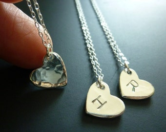 Personalized Heart Necklace,Heart Initial Necklace,Jewelry for Grandma,Gifts for Mom,Hand Stamped Jewelry,Personalized Gifts for Her