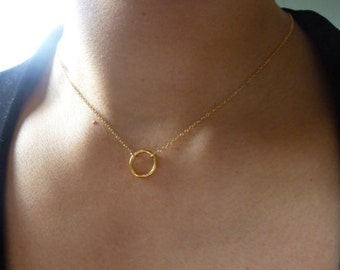 Small Gold Circle Necklace-Rose Gold Circle Necklace-Small Circle Charm Necklace-Halo Necklace-Eternity Necklace-Karma Necklace-Momentusny
