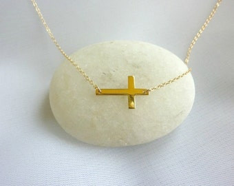 Sideways Cross Necklace-Rose Gold Cross Necklace-Cross Necklace-Gold Cross Necklace-Cross Charm-Gold Sideways Cross Necklace-Momentusny
