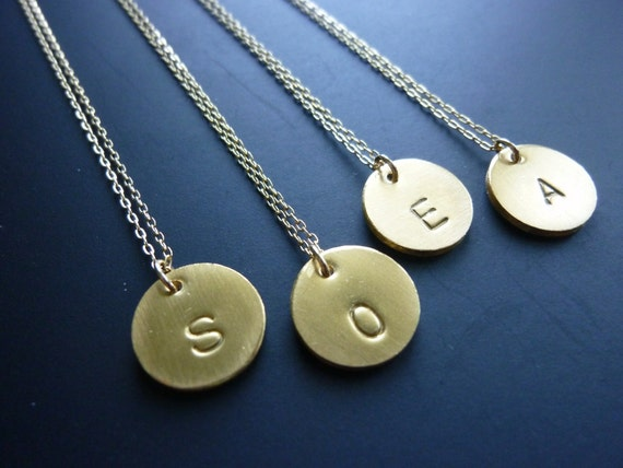 Gold Initial Necklace-Gold Initial Disc Necklace-Personalized Necklace-Monogram Necklace-Initial Necklace-Engraved Necklace-Teacher's Gift