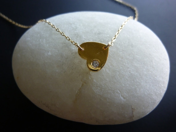 Golden Heart Necklace Diamond, Made to Order