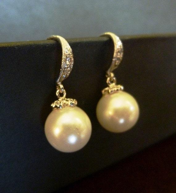 sterling silver dangle pearl earrings-big pearl earrings with diamond cz-bridal pearl earrings-pearl dangle earrings-big pearl earrings