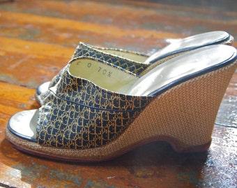 Vintage CHRISTIAN DIOR Platform Wedge LOGO High Heel Shoes