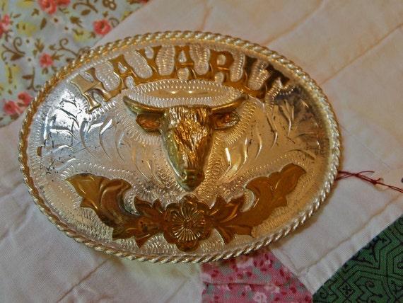 Vintage COW Head Belt Buckle RODEO Western NAYARIT Mexico