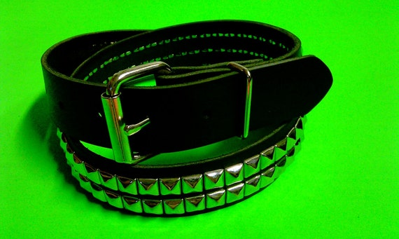 two row pyramid leather belt (1 1/4 '' wide belt)