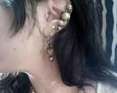 SALE - Love Lost Ear Cuff - Cream Pearls and Dark Romantic Curls