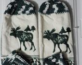 Country Kitchen 4 pc Set Cotton Crochet Towel Dishcloth Moose Rustic
